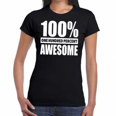 Goedkope procent awesome tekst t shirt zwart dames