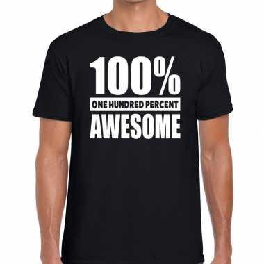 Goedkope procent awesome tekst t shirt zwart heren