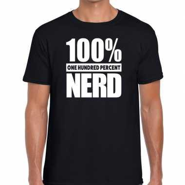 Goedkope procent nerd tekst t shirt zwart heren