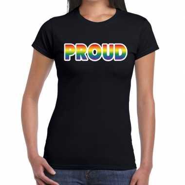 Goedkope proud gay pride t shirt zwart dames
