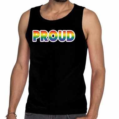 Goedkope proud gay pride tanktop/mouwloos shirt zwart heren