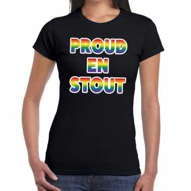 Goedkope proud stout gay pride t shirt zwart dames