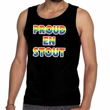 Goedkope proud stout/mouwloos shirt gay pride tanktop zwart heren