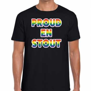 Goedkope proud stout regenboog gaypride shirt zwart heren