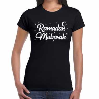 Goedkope ramadan mubarak t shirt zwart dames