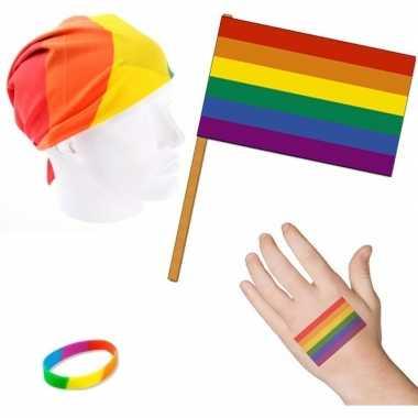Goedkope regenboog/gay pride thema verkleed set volwassenen
