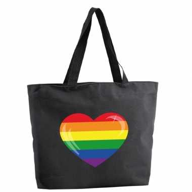 Goedkope regenboog hart shopper tas zwart