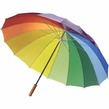 Goedkope regenboog paraplu houten handvat