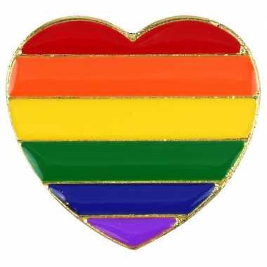 Goedkope regenboog pride hart metalen pin/broche