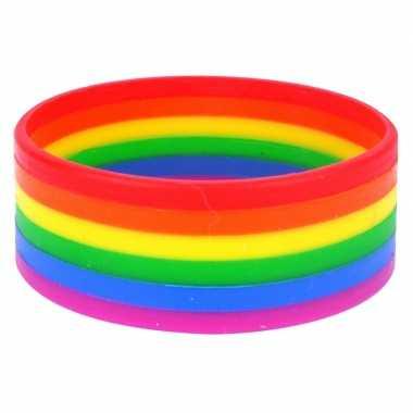 Goedkope regenboog pride kleuren siliconen armbandje