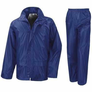 Goedkope regenpak winddicht kobalt blauw meisjes