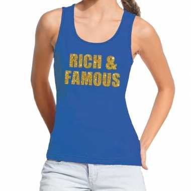 Goedkope rich and famous glitter tanktop / mouwloos shirt blauw dames