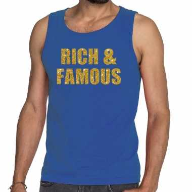 Goedkope rich and famous glitter tanktop / mouwloos shirt blauw heren