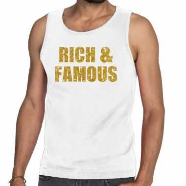 Goedkope rich and famous glitter tanktop / mouwloos shirt wit heren