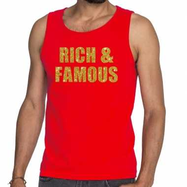Goedkope rich and famous glitter tekst tanktop / mouwloos shirt rood