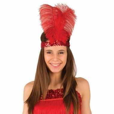 Goedkope rode charleston hoofdband veren dames