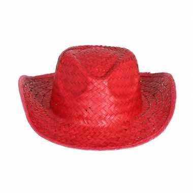 Goedkope rode cowboy/strohoed volwassenen