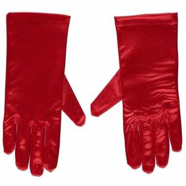 Goedkope rode gala handschoenen kort satijn