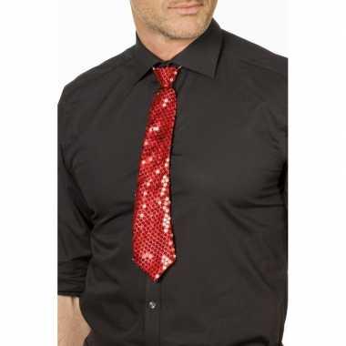 Goedkope rode glitter stropdas verkleedaccessoire dames/heren