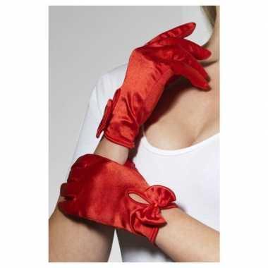 Goedkope rode korte verkleed handschoenen dames