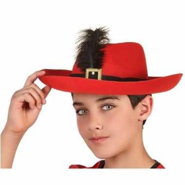 Goedkope rode musketier verkleed hoed kinderen
