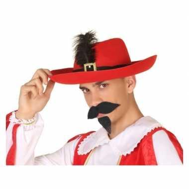 Goedkope rode musketier verkleed hoed volwassenen