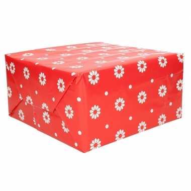 Goedkope rollen inpakpapier rood bloemen rol