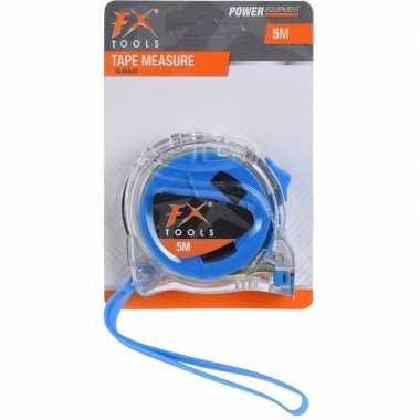 Goedkope rolmaat/meetlint transparant/blauw meter