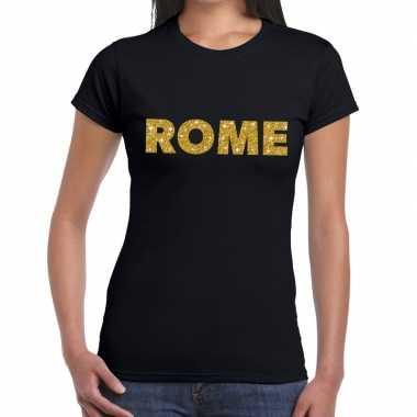Goedkope rome gouden glitter tekst t shirt zwart dames