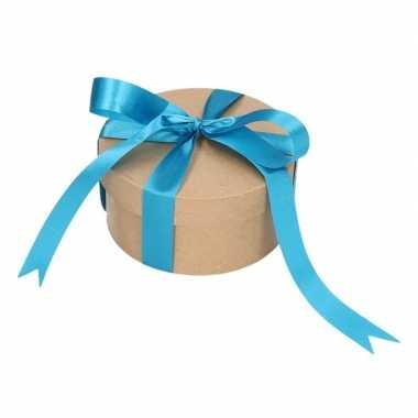 Goedkope rond cadeaudoosje , blauwe strik