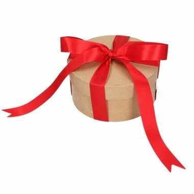 Goedkope rond cadeaudoosje , rode strik