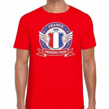Goedkope rood france drinking team t shirt heren