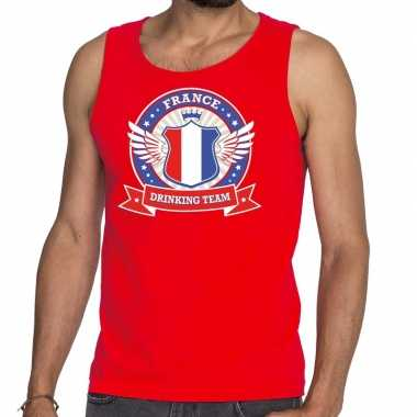 Goedkope rood france drinking team tanktop / mouwloos shirt heren