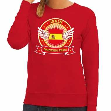 Goedkope rood spain drinking team sweater dames