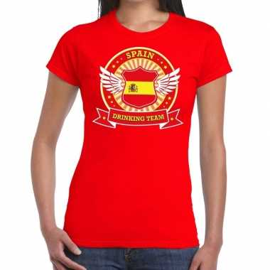 Goedkope rood spain drinking team t shirt dames