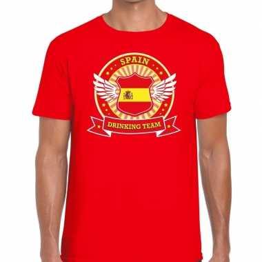 Goedkope rood spain drinking team t shirt heren