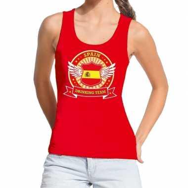 Goedkope rood spain drinking team tanktop / mouwloos shirt dames