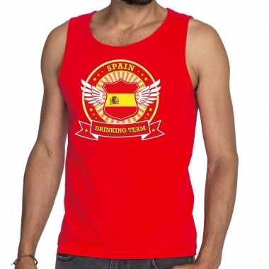 Goedkope rood spain drinking team tanktop / mouwloos shirt heren