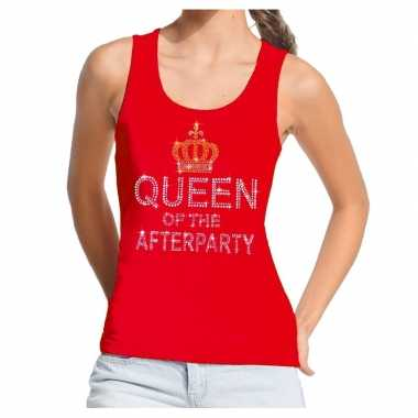 Goedkope rood toppers queen of the afterparty glitter tanktop dames