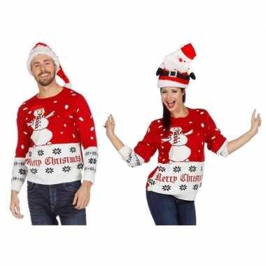 Goedkope rood/witte kerst trui sneeuwpop volwassenen