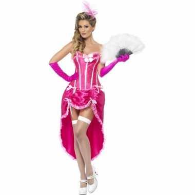 Goedkope roze burlesque danseres kostuum