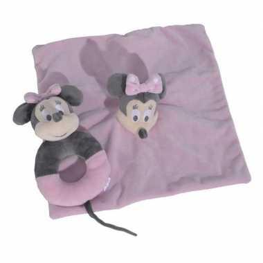 Goedkope roze disney rammelaar tuttel/knuffeldoekje minnie mouse