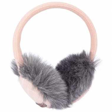 Goedkope roze gebreide oorwarmers dames