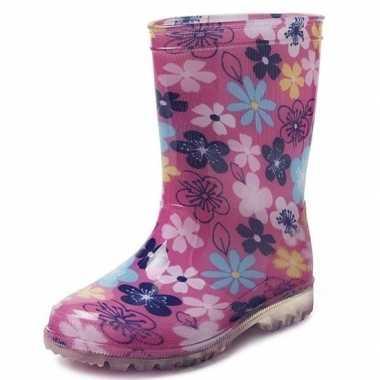 Goedkope roze gekleurde bloemen kinder regenlaarzen