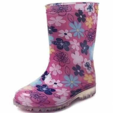 Goedkope roze gekleurde bloemen kleuter/kinder regenlaarzen