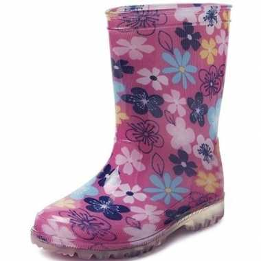 Goedkope roze gekleurde bloemen peuter/kinder regenlaarzen