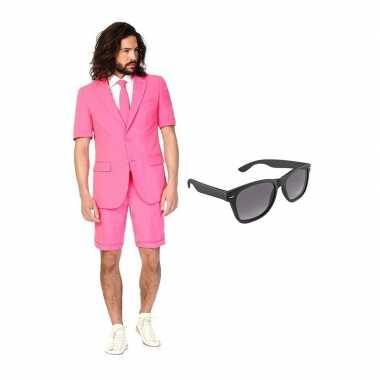 Goedkope roze heren zomer kostuum maat (m) gratis zonnebril