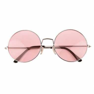 Goedkope roze hippie bril grote glazen