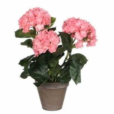 Goedkope roze hydrangea/hortensia kunstplant grijze pot