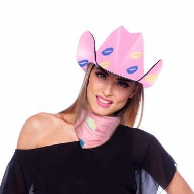 Goedkope roze kartonnen cowboyhoed lippen/kusjes dames